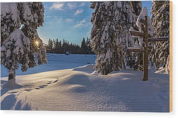 sunrise at the Oderteich, Harz Wood Print by Andreas Levi