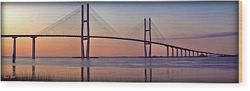 Sunrise At The Sidney Lanier Bridge Wood Print