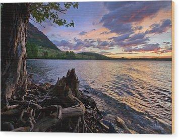 Wood Print featuring the photograph Sunrise At Waterton Lakes by Dan Jurak