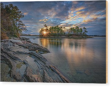 Wood Print featuring the photograph Sunrise At Wolfe's Neck Woods by Rick Berk