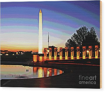 Sunrise At Wwii Memorial Wood Print