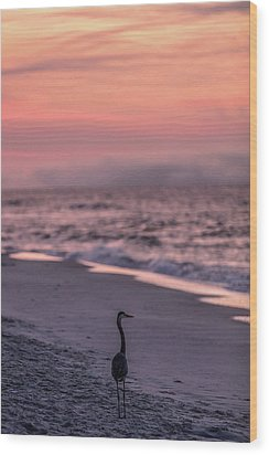 Wood Print featuring the photograph Sunrise Beach And Bird by John McGraw