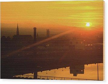 Sunset Belfast Wood Print