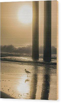 Wood Print featuring the photograph Sunrise Bird At Beach  by John McGraw