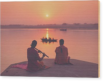 Sunrise By The Ganges Wood Print by Marji Lang