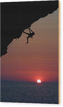 Sunrise Climber Wood Print by Neil Buchan-Grant