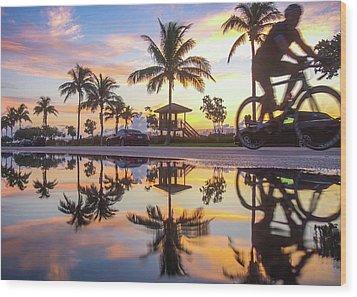 Sunrise Cyclist Delray Beach Florida Wood Print