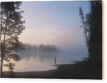 Sunrise Fishing In The Yellowstone River Wood Print by Michael S. Lewis