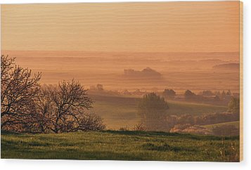 Wood Print featuring the photograph Sunrise Foggy Valley by Jenny Rainbow
