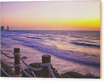 Sunrise In Cancun Wood Print