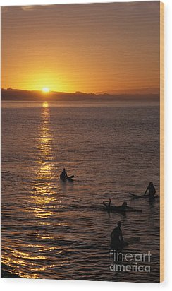 Sunrise In Capitola Wood Print by Stan and Anne Foster