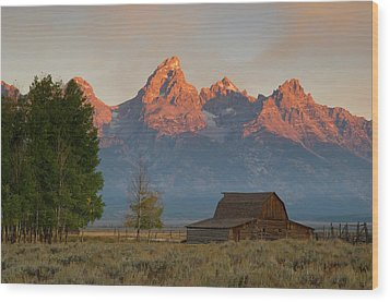 Sunrise In Jackson Hole Wood Print by Steve Stuller