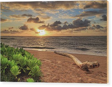 Wood Print featuring the photograph Sunrise In Kapaa by James Eddy