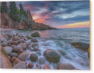 Sunrise In Monument Cove Wood Print by Rick Berk