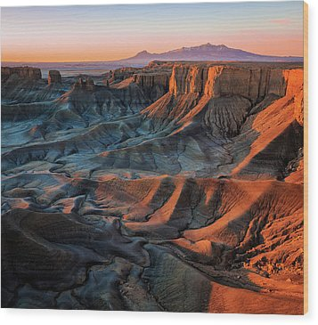 Wood Print featuring the photograph Sunrise In The Badlands. by Johnny Adolphson