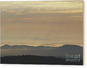 Sunrise In The Mountains - Hills In Morning Mist Wood Print by Michal Boubin