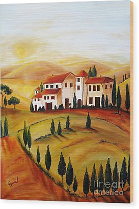 Sunrise In Tuscany Wood Print by Christine Huwer