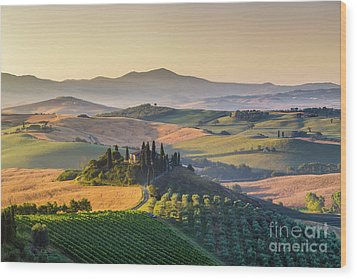 Sunrise In Tuscany Wood Print by JR Photography
