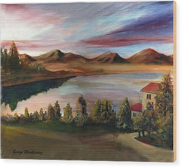 Sunrise Lake Wood Print by George Markiewicz