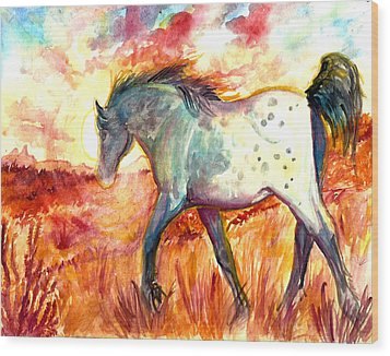 Wood Print featuring the painting Sunrise Mare by Jenn Cunningham