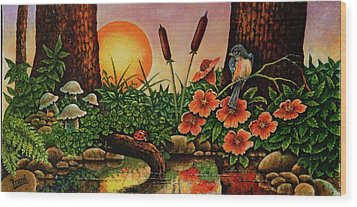 Wood Print featuring the painting Sunrise by Michael Frank