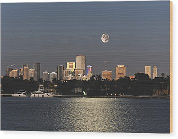 Wood Print featuring the photograph Sunrise Moon Over Miami by Gary Dean Mercer Clark