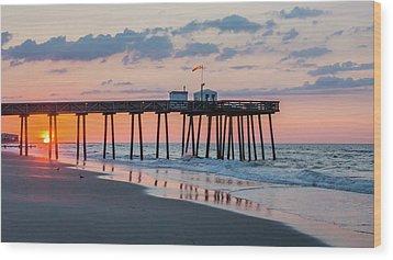 Sunrise Ocean City Fishing Pier Wood Print