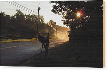 Sunrise On A Country Road Wood Print