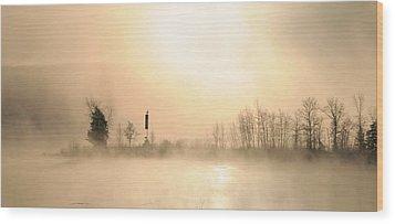 Sunrise On A Foggy Morning Wood Print by Louise Fahy