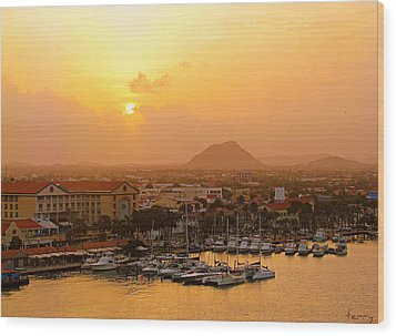 Sunrise On Aruba Wood Print