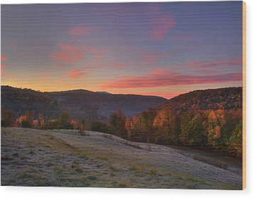 Wood Print featuring the photograph Sunrise On Jenne Farm - Vermont Autumn by Joann Vitali