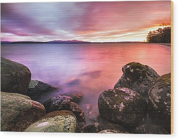 Sunrise On Lake Winnipesaukee Wood Print