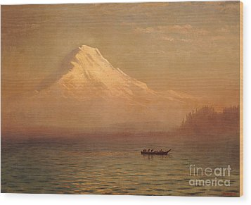 Sunrise On Mount Tacoma  Wood Print by Albert Bierstadt