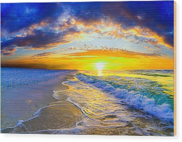 Wood Print featuring the photograph Sunrise On Ocean Waves Beautiful Orange Sunrise by Eszra Tanner