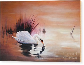Wood Print featuring the painting Sunrise On Swan Lake by Michael Rock
