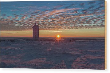 Sunrise On The Brocken, Harz Wood Print