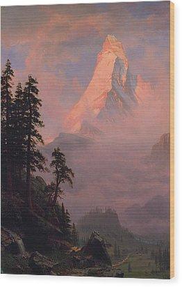 Wood Print featuring the painting Sunrise On The Matterhorn         by Albert Bierstadt