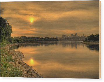 Sunrise On The Missouri River Wood Print by Don Wolf
