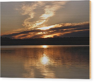Sunrise On The Turtle Flambeau Flowage Wood Print by Angie Rea