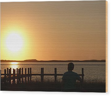 Wood Print featuring the photograph Sunrise Over Assateaque by Donald C Morgan