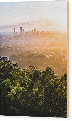Sunrise Over Brisbane Wood Print