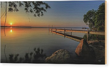 Sunrise Over Cayuga Lake Wood Print by Everet Regal