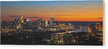 Sunrise Over Cincinnati Wood Print by Keith Allen