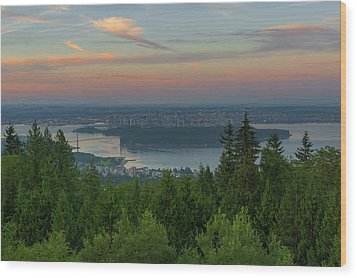 Sunrise Over City Of Vancouver Bc Canada Wood Print by David Gn