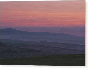 Wood Print featuring the photograph Sunrise Over Hills Of Moravian Tuscany by Jenny Rainbow
