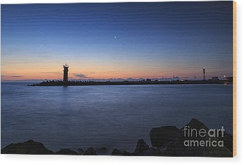 Sunrise Over Lighthouse - Beautiful Seascape Wood Print by Mohamed Elkhamisy