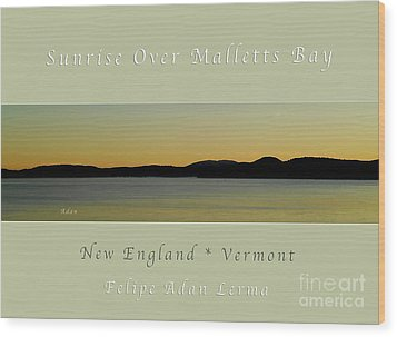 Sunrise Over Malletts Bay Greeting Card And Poster - Six V4 Wood Print
