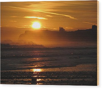 Sunrise Over Sandsend Beach Wood Print by RKAB Works