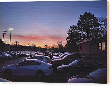 Sunrise Over The Car Lot Wood Print by Jeanette O'Toole