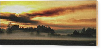 Sunrise Over The Cascades Wood Print by DMSprouse Art